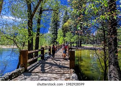 Yosemite National Park 2021 05 05 People on the Swinging Bridge.