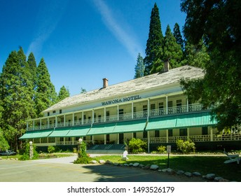 Yosemite National Park, CA / United States - Aug. 22, 2019: a landscape view of the historic Wawona Hotel  The hotel is located within southern Yosemite National Park