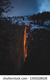 Yosemite National Park in California puts on an amazing 'firefall' show if you're lucky and the conditions are right each February during the last rays of sunlight at Horsetail falls near El Capitan.