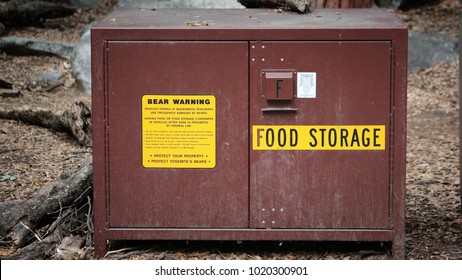 Yosemite National Park, California, United States - bear proof food storage locker.