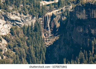 Yosemite National Park Usa california. A beautiful view from Glacier Point in the Yosemite Valley to the waterfall. Top view point on America tour