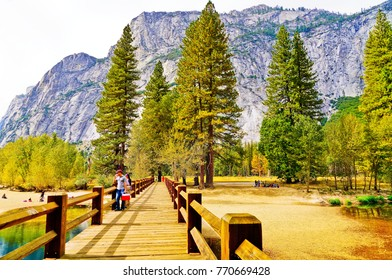 Yosemite National Park, USA- October 11, 2017 : View of Yosemite Valley with some tourists visiting in Yosemite National Park in autumn on October 11, 2017.