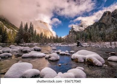 Yosemite National Park in winter California USA