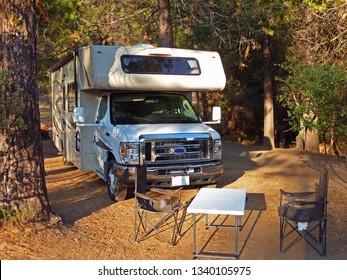 YOSEMITE N.P., USA - June 12, 2015 - Big RV on campground