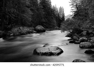 Yosemite smooth river B&W