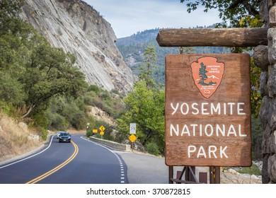 YOSEMITE, USA - OCTOBER 9, 2015: Entrance sign at Yosemite National Park, USA