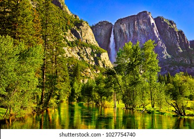 Yosemite Valley, with Yosemite Falls and Merced River.