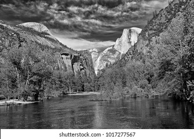 Yosemite Valley, with Half Dome and Merced River.
