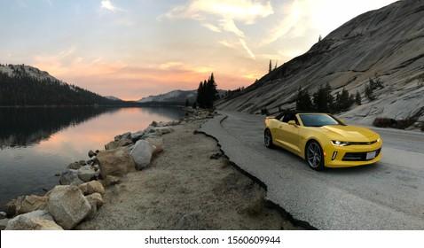 Yosemite Valley National Park, USA; nov 2017: Chevrolet Camaro Convertible at sunset