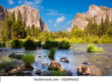 Yosemite valley view in Yosemite national park, USA