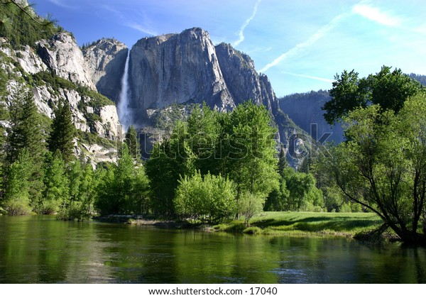 Yosemite valley viewed from a river