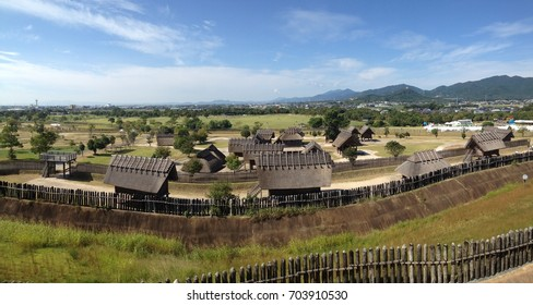 Yoshinogari, historical Park in Kyushu Japan; The Yayoi period, an archaeological period in Japan, lasting from the third century B.C. to the third century A.D., following the Jomon period