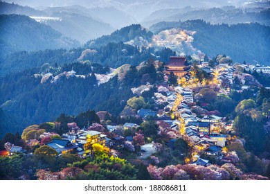 Yoshinoyama, Nara, Japan at twilight during the spring.