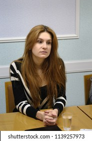 "Yoshkar-Ola, Russia - December 19, 2014 Maria Butina, the founder and member of the board of the All-Russian public organization ""The Right to Arms"""