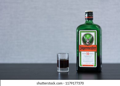 Yoshkar-Ola, Russia - February 15, 2018 Jagermeister, German digestif made with 56 herbs and spices is the flagship product of Mast-Jagermeister SE. Photo view from above.
