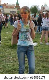 YOSHKAR-OLA, RUSSIA, JUNE 17, 2017: Festival of colors