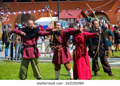 YOSHKAR-OLA, RUSSIA, MAY 25, 2019: the festival of historical reconstruction HERITAGE - tournament of medieval archers on shooting at the target.