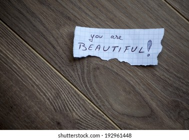 You are beautiful! Handwrite piece of paper with space for text