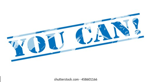 you can! blue stamp on white background