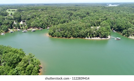 You can see several docks at Hartwell Lake in this aerial view of the gorgeous body of water.