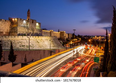 you can see in this picture a section of the Jerusalem Wall near the Hebron Gate after sunset.