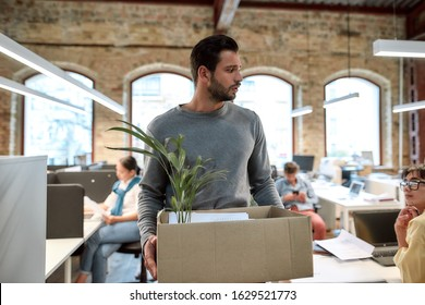 If you don't like your job quit. Upset man in casual wear holding box with things and leaving the office. Quit concept. Office life