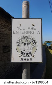 YOU ARE ENTERING A NEIGHBOURHOOD WATCH AREA - a sign in Portwrinkle, Cornwall