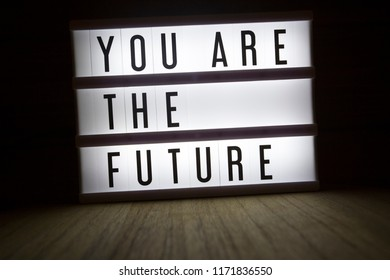 'You are the future' text in lightbox