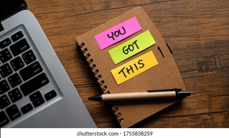 You got this! Handwriting on a sticky note. Business concept.
