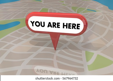 You are Here Map Pin Location Navigation 3d Illustration