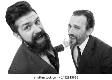 Are you kidding me. Partnership and teamwork. Men successful entrepreneurs white background. Business team. Business people concept. Men bearded wear formal suits. Well groomed business men laughing.