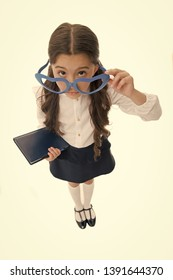 0bf29210ed8e8 Schoolgirl heart shaped glasses isolated white background. Child girl school