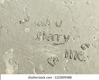 """Will you marry me"" the beautiful meaningful sentence was written on the beach while a man kneeling his knees telling his woman with sweet words You're the love of my life. We'll forever be in love."