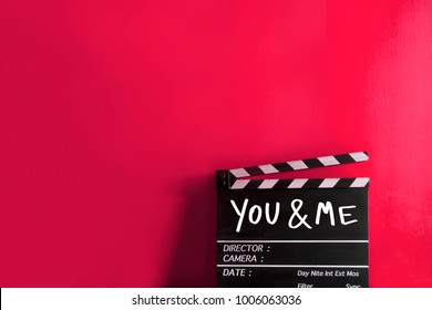 you and me text title on film slate