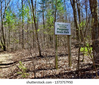 You are now entering Purgatory State Park sign