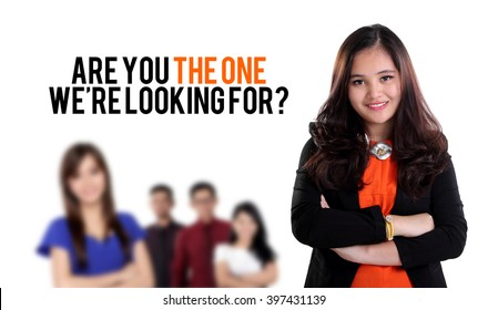 Are you the one we're looking for? Job recruitment design with image of young business people standing, on white background