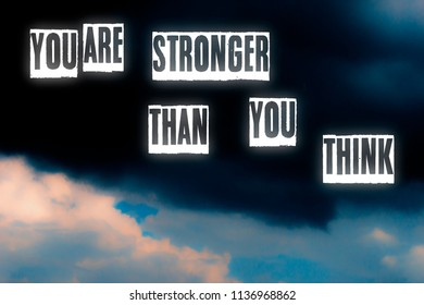 You are stronger than you think letters card illustration