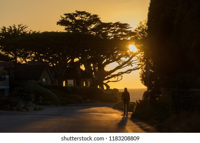 A youg woman walks at sunset on Scenic Drive in Carmel-by-the-Sea.
