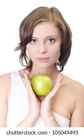 Yound pretty woman with apple , isolated