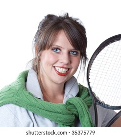 Young active woman with a tennis racquet; close-up portrait; isolated on a white background.
