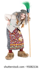 young actor in the costume of Baba Yaga
