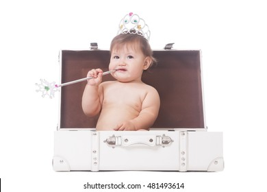 Young adorable pageant queen sitting in the case