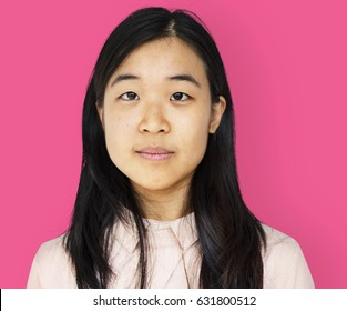 Young adult asian girl smiling casual studio portrait