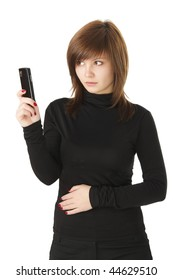 Young adult business woman holding a telephone, isolated on white