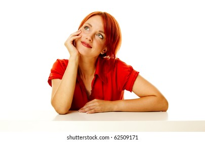 young adult caucasian woman over white background