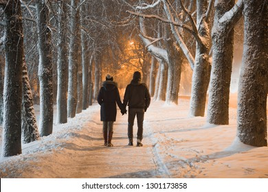Young adult couple holding each other hands and walking on snow covered sidewalk through alley of trees. Peaceful atmosphere in snowy winter night. Enjoying fresh air. Back view.