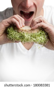 Young Adult Eating a Sandwich Full of Alfalfa Sprouts (healthy lifestyle concept)