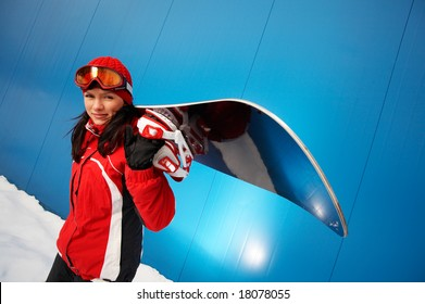 young adult female snowboarder.