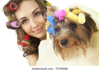 Young adult female with Yorkshire Terrier dog