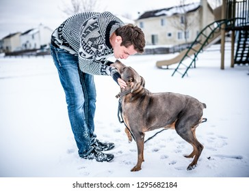 Young adult gentleman taking his dog out in the snow for a walk, bending down to give his dog a kiss and showing affection in the playground.
